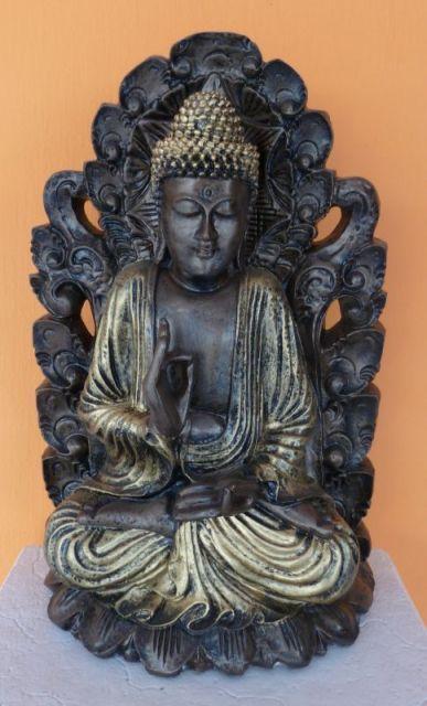 Buddha-Thai-tanito-lotuszviragon-bronz-antik-arany