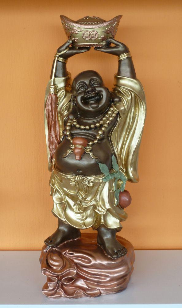 Buddha-kinai-feje-folott-hajo-65cm-bronz-arany-világos réz