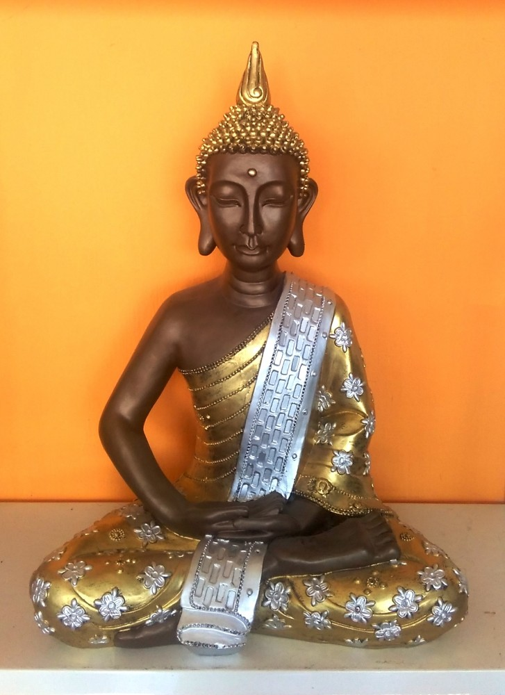 Buddha-burmai-ülő/bronz-arany-ezüst