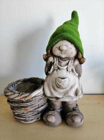 Manó-46cm-Tél manó-álló-VT-zöld sapkás-lány