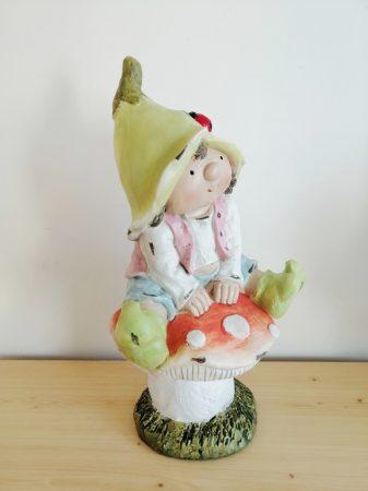 Manó-44cm-Tavasz manó-gombán ülő-fiú