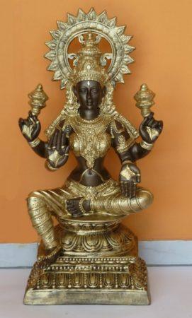 Hindu-istenno-Laksmi-ulo-bronz-arany