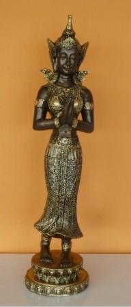 Buddha-burmai-álló/bronz-arany