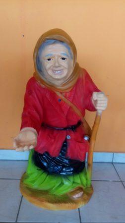 Koldus-Kéregető-nagy-85cm/asszony/piros kabátos