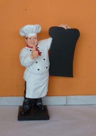 Szakács- 75 cm/fehér inges-bajusz nélküli-piros nyakkendős