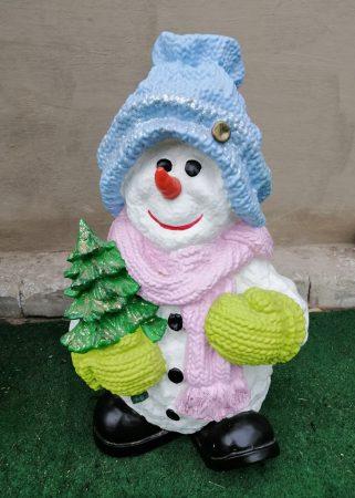 Hóember-50cm/sapkában-fenyővel