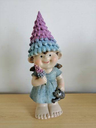 Gyerek-25cm-Toboz sapkás-Lány-kannával/virággal