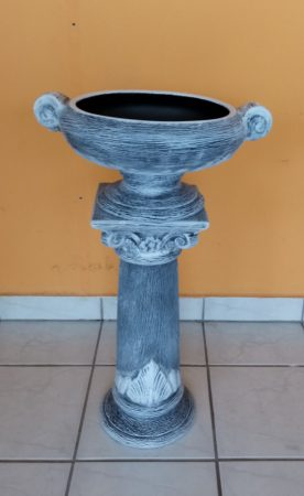 Kerámia-Oszlop-csigavonalas/virágtartó kehellyel/K41-terrakotta