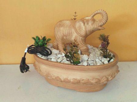 Kerámia-Csobogó-Ovális tál/elefánttal-terrakotta