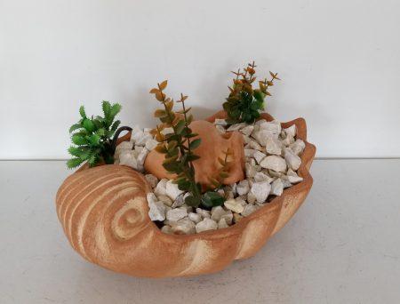 Kerámia-Csobogó-Közepes kagylótál/amforával-terrakotta