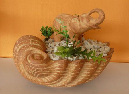 Kerámia-Csobogó-Nagy kagylótál/elefánttal-terrakotta
