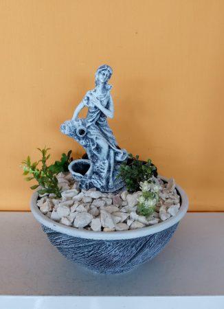Kerámia-Csobogó-Normál-mini tál/női alakkal-kék