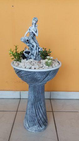 Kerámia-Csobogó-oszlopon-normál-mini/mini tál/női alakkal-kék