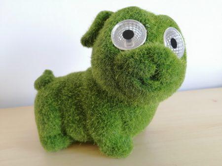 Solar-kutya-13cm-moha/zöld-LED szemekkel